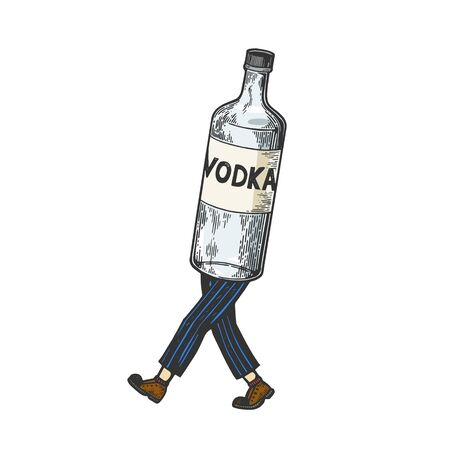 Vodka alcohol bottle walks on its feet color sketch engraving vector illustration. Tee shirt apparel print design. Scratch board style imitation. Black and white hand drawn image.