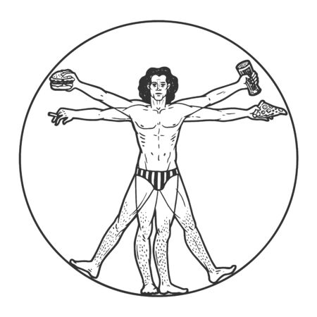 Party club Vitruvian Man with beer pizza and cigar sketch engraving vector illustration. Иллюстрация