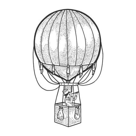 Gentleman looks in telescope in basket of air balloon. Standard-Bild - 129595055