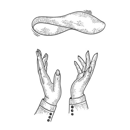 Pizza dough flying and pizzaiolo hands sketch engraving vector illustration.