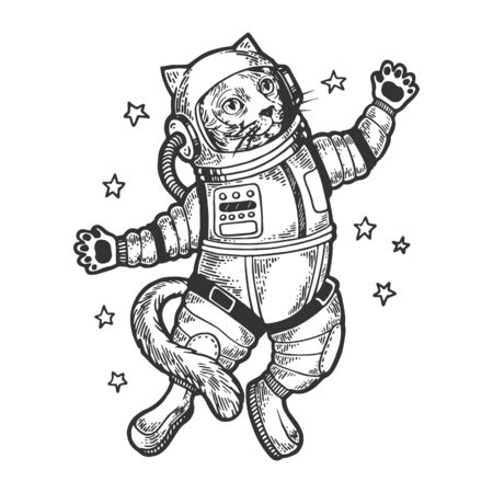 Cat astronaut spaceman in space sketch engraving vector illustration. Tee shirt apparel print design.  イラスト・ベクター素材