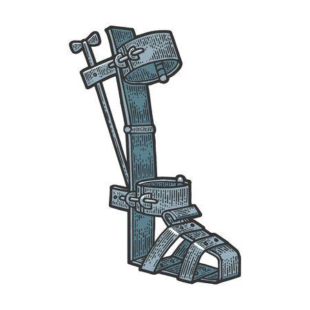 Bota española dispositivo de tortura medieval boceto en color grabado ilustración vectorial. Diseño de impresión de ropa de camiseta. Imitación de tablero de rascar. Imagen dibujada a mano.