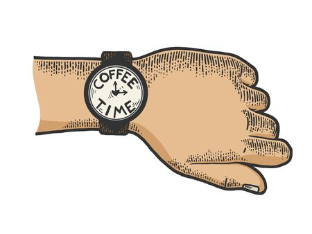 Hand with wristwatch coffee time color sketch engraving vector illustration. Tee shirt apparel print design. Scratch board style imitation. Black and white hand drawn image.
