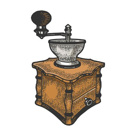 Coffee grinder color sketch engraving vector illustration. Tee shirt apparel print design. Scratch board style imitation. Black and white hand drawn image.