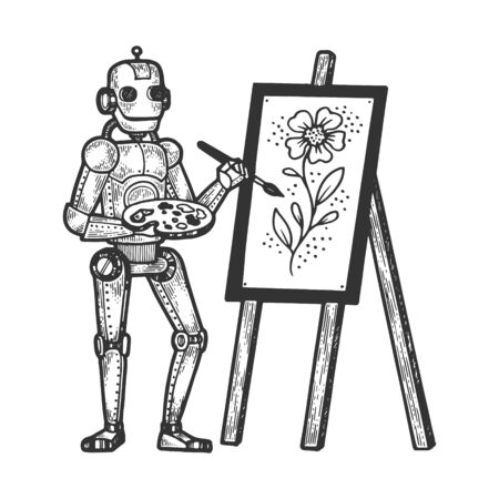 Robot artist painter sketch engraving vector illustration. Tee shirt apparel print design. Scratch board style imitation. Black and white hand drawn image.