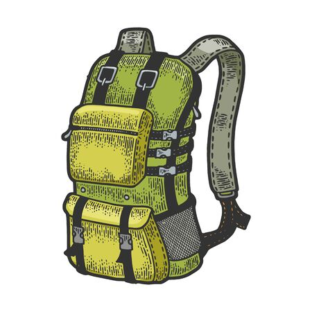 Tourist backpack sketch engraving vector illustration. Scratch board style imitation. Black and white hand drawn image. Illustration