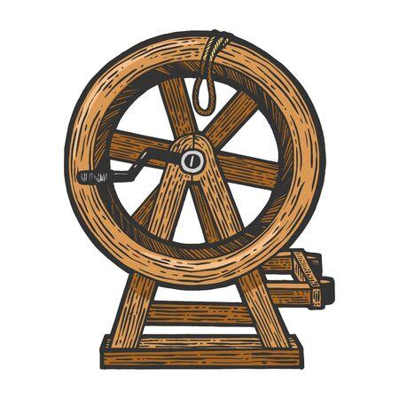 Rompiendo la rueda dispositivo de tortura medieval boceto grabado ilustración vectorial. Imitación de tablero de rascar. Imagen dibujada a mano.