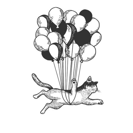 Cat animal flies on air balloons sketch engraving vector illustration. Tee shirt apparel print design. Scratch board style imitation. Black and white hand drawn image. Çizim