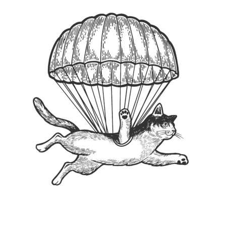 Cat animal flies with parachute as paratrooper sketch engraving vector illustration. Tee shirt apparel print design. Scratch board style imitation. Black and white hand drawn image.