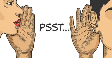 Flüstern Sie mit der Hand in der Nähe von Mund zu Ohr Skizzenlinie Kunst Gravur Vector Illustration. T-Shirt Bekleidung Print-Design. Nachahmung im Scratchboard-Stil. Handgezeichnetes Schwarz-Weiß-Bild.