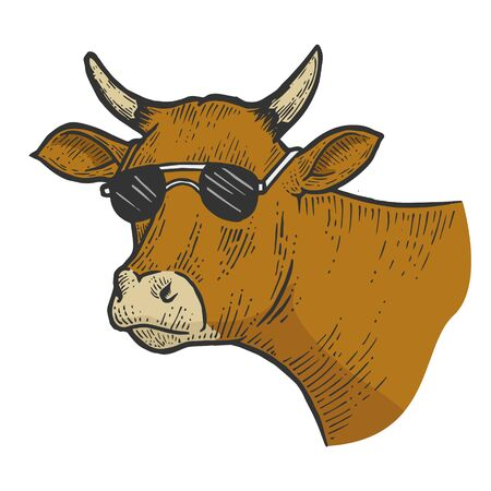 Cow animal in sunglasses line art sketch engraving vector illustration. Tee shirt apparel print design. Scratch board style imitation. Black and white hand drawn image.