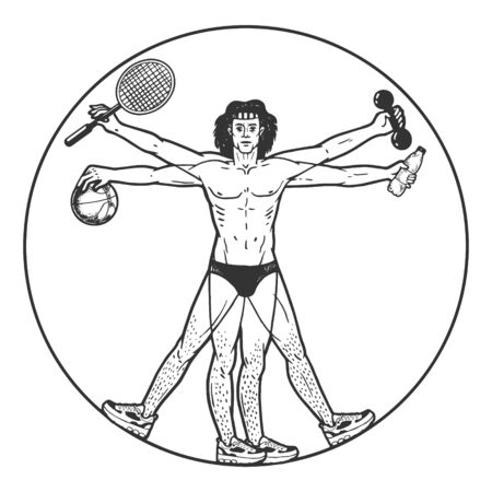 Athlete Vitruvian Man with sport items sketch engraving vector illustration. Tee shirt apparel print design.