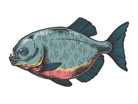Piranha fish animal sketch engraving vector illustration. Tee shirt apparel print design.