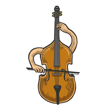 Double bass violin alto cello string instrument plays on itself sketch engraving vector illustration.
