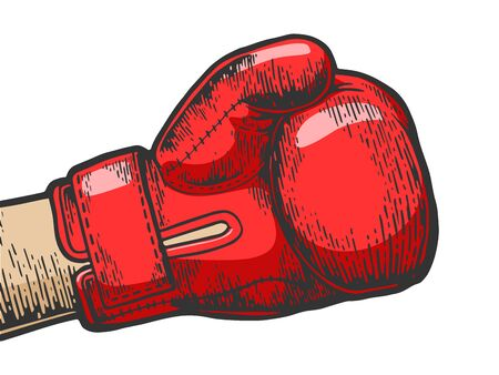 Hand in boxing glove sketch engraving vector illustration. Tee shirt apparel print design.