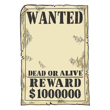 Wanted criminal reward poster template sketch engraving vector illustration. Tee shirt apparel print design. Çizim