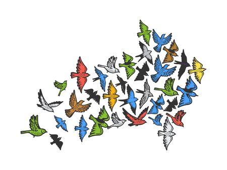 Birds flying in form of arrow symbol sketch engraving vector illustration. Tee shirt apparel print design. Illustration