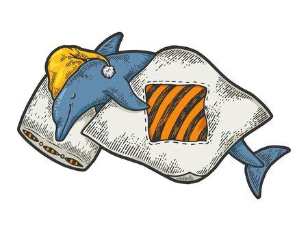Cartoon funny sleeping dolphin sketch engraving vector illustration. Tee shirt apparel print design.
