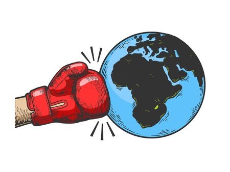Hand in boxing glove hits Earth planet engraving vector illustration. Apocalyptic war metaphor.