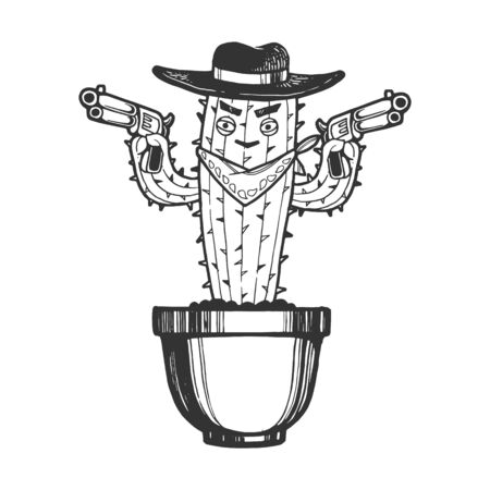 Cartoon mexican cactus character gangster bandit with pistol revolver guns engraving sketch vector illustration. Tee shirt apparel print design. Scratch board imitation. Black and white image.  イラスト・ベクター素材