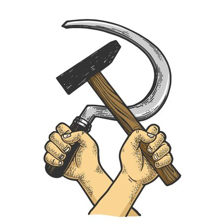 Hand with hammer and sickle sketch engraving vector illustration. Soviet Union proletarian solidarity symbol. Tee shirt apparel print design. Scratch board imitation. Black and white hand drawn image.