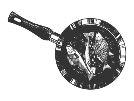 Fish is fried in pan sketch engraving vector illustration. Tee shirt apparel print design. Scratch board style imitation. Black and white hand drawn image.  イラスト・ベクター素材