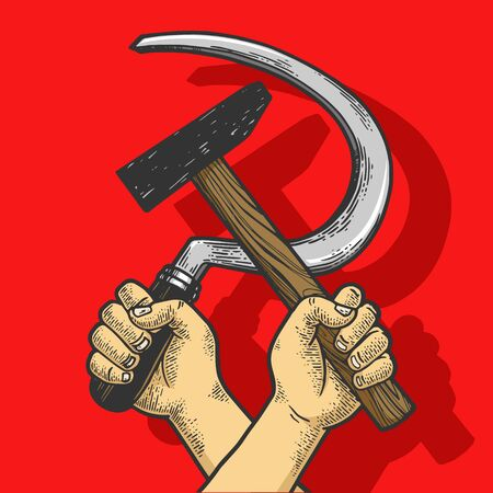 Hand with hammer and sickle on red background sketch engraving vector illustration. Soviet Union proletarian solidarity symbol. Tee shirt apparel print design.
