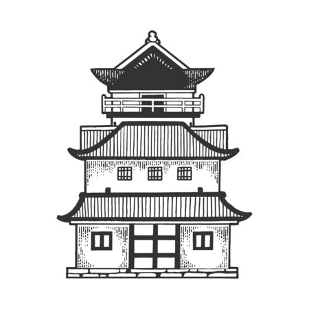 Japanese temple Pagoda house sketch engraving vector illustration. Tee shirt apparel print design. Scratch board style imitation. Black and white hand drawn image.