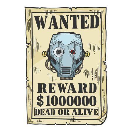 Cyborg robot criminal reward poster engraving vector illustration. Tee shirt apparel print design. Scratch board style imitation. Black and white hand drawn image.  イラスト・ベクター素材