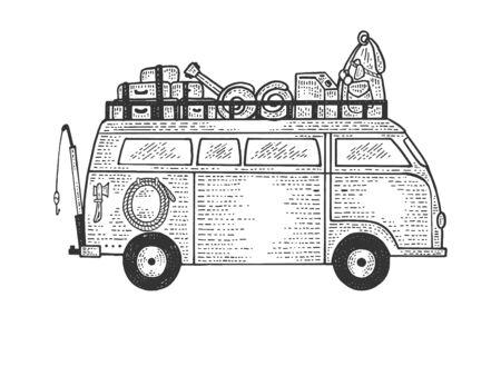 キャンピングカーバン車両トレーラースケッチ彫刻ベクトルイラスト。ティーシャツアパレルプリントデザイン。スクラッチボードスタイルの模倣。黒と白の手描きのイメージ。