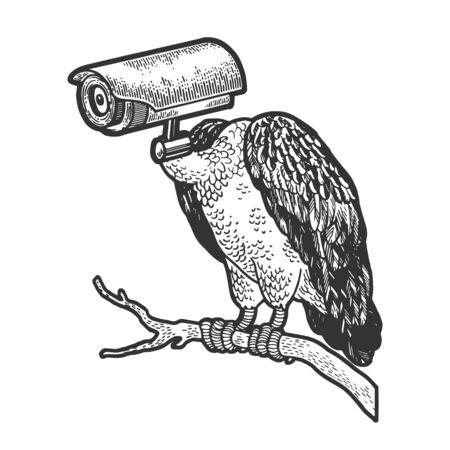 Pájaro buitre leonado con cámara de vigilancia cctv cabeza boceto grabado ilustración vectorial. Diseño de impresión de ropa de camiseta. Imitación de tablero de rascar. Imagen dibujada a mano. Ilustración de vector