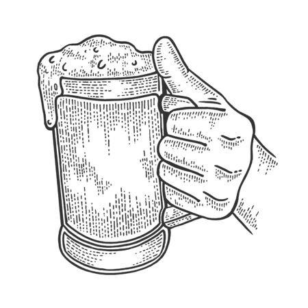 Beer cup in hand sketch engraving vector illustration. Scratch board style imitation. Hand drawn image.