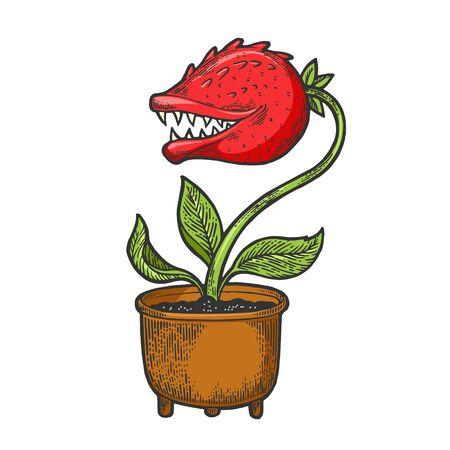 Cartoon flower with teeth sketch engraving vector illustration. Tee shirt apparel print design. Scratch board style imitation. Black and white hand drawn image. Ilustração