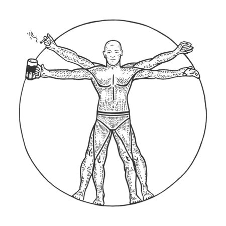 Party club Vitruvian Man with beer pizza and cigar sketch engraving vector illustration. Tee shirt apparel print design. Scratch board style imitation. Black and white hand drawn image.  イラスト・ベクター素材