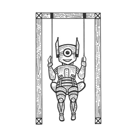 Robot child play on swing sketch engraving vector illustration. Machine learning metaphor. Scratch board style imitation. Black and white hand drawn image.  イラスト・ベクター素材