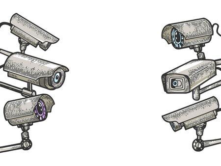 Video cam surveillance cctv cameras set sketch engraving vector illustration. Tee shirt apparel print design. Scratch board style imitation. Hand drawn image.