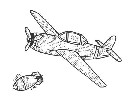 Avión bombardero cae bomba dibujo grabado ilustración vectorial. Imitación de tablero de rascar. Imagen dibujada a mano. Ilustración de vector