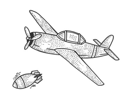 Bomberflugzeug lässt Bombenskizze Gravur Vektor-Illustration fallen. Nachahmung im Scratchboard-Stil. Handgezeichnetes Bild. Vektorgrafik