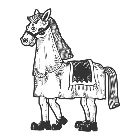 Horse costume in theater sketch engraving vector illustration. Tee shirt apparel print design. Scratch board style imitation. Black and white hand drawn image.