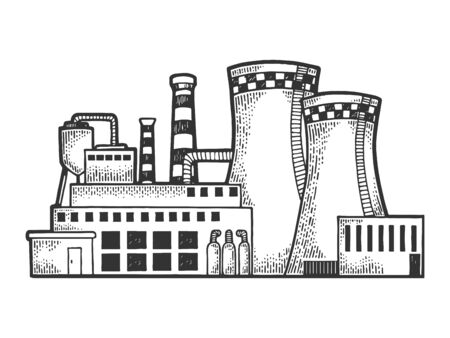 Nuclear power plant sketch engraving vector illustration. Tee shirt apparel print design. Scratch board style imitation. Black and white hand drawn image.