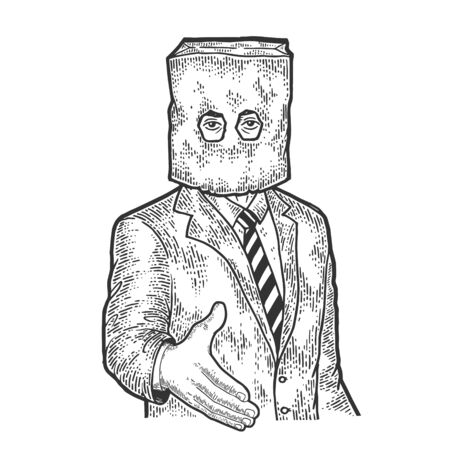 Businessman with paper bag on his head lend hand for handshake sketch engraving vector illustration. Tee shirt apparel print design. Scratch board style imitation. Black and white hand drawn image. Vectores