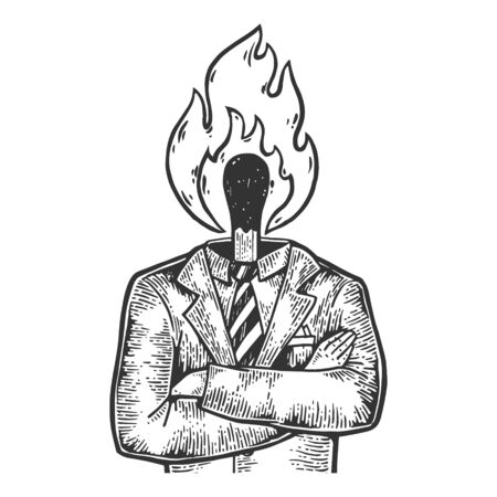 Burning match head businessman sketch engraving vector illustration. Tee shirt apparel print design. Scratch board style imitation. Black and white hand drawn image.