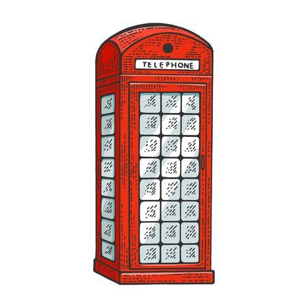 Red telephone box sketch engraving vector illustration. Tee shirt apparel print design. Scratch board style imitation. Black and white hand drawn image. Foto de archivo - 131104072