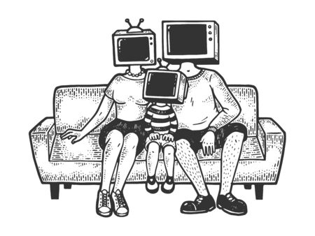 Tv heads family sketch engraving vector illustration. Tee shirt apparel print design. Scratch board style imitation. Black and white hand drawn image.