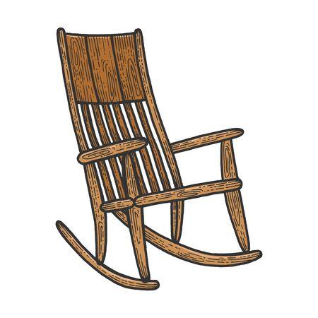 Rocking chair croquis gravure illustration vectorielle. Imitation de style planche à gratter. Image dessinée à la main.