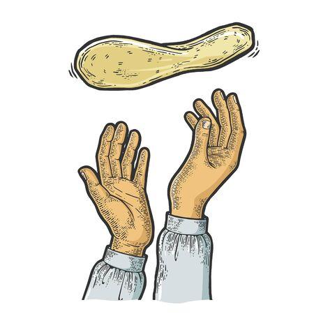 Impasto per pizza battenti e mani del pizzaiolo schizzo illustrazione vettoriale di incisione. Metafora della cottura della pizza. Imitazione di stile scratch board. Immagine disegnata a mano. Vettoriali