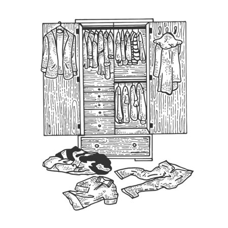 Wardrobe with clothes sketch engraving vector illustration. Tee shirt apparel print design. Scratch board style imitation. Black and white hand drawn image. Ilustração