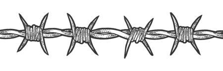 Illustration vectorielle de fil de fer barbelé esquisse gravure. Conception d'impression de vêtements de T-shirt. Imitation de style planche à gratter. Image dessinée à la main en noir et blanc. Vecteurs