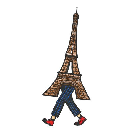 Eiffel Tower walks on its feet sketch engraving vector illustration. Scratch board style imitation. Black and white hand drawn image. Banque d'images - 131088479