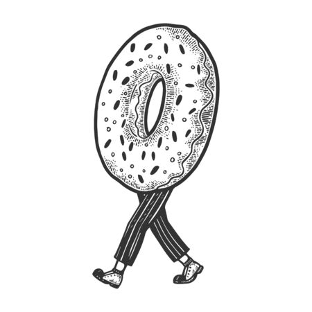 Donut walks on its feet sketch engraving vector illustration. T-shirt apparel print design. Scratch board style imitation. Black and white hand drawn image.